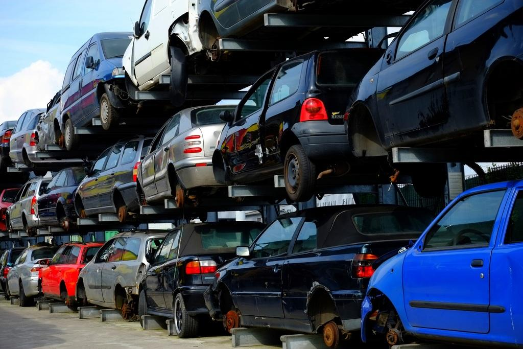 Scrapped cars waiting to be recycled at a yard. Roughly 1.5 million cars get recycled each year in Canada.