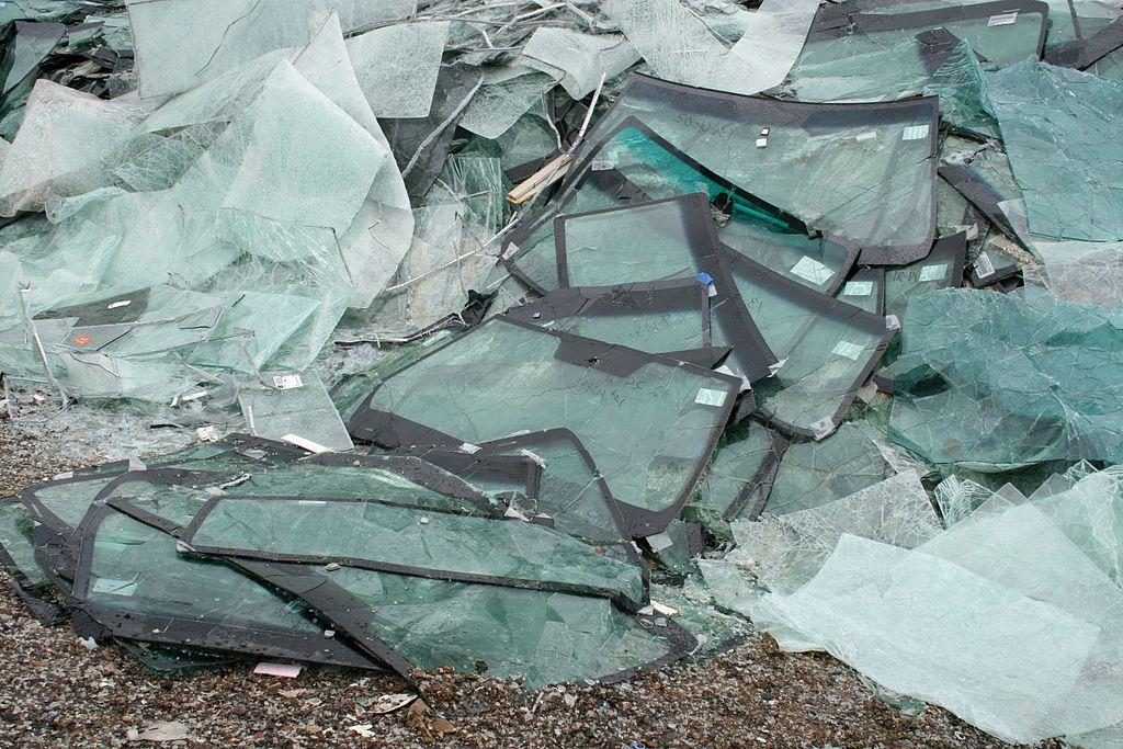 Cracked windshields awaiting recycling at a facility. Over 1.2 million windshields are replaced each year in Canada.